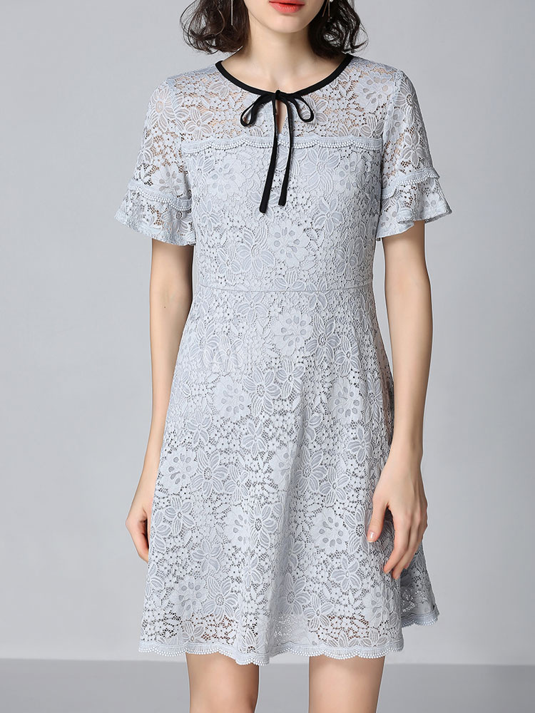 Buy Women Lace Dress Short Sleeve Crewneck Grey Summer Dress for $40.79 in Milanoo store
