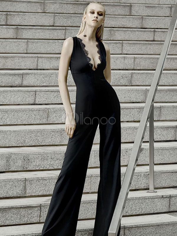 4e3c52f4866a Black Sexy Jumpsuit Lace Sleeveless Plunging Neck Wide Leg Jumpsuit For  Women-No.1 ...