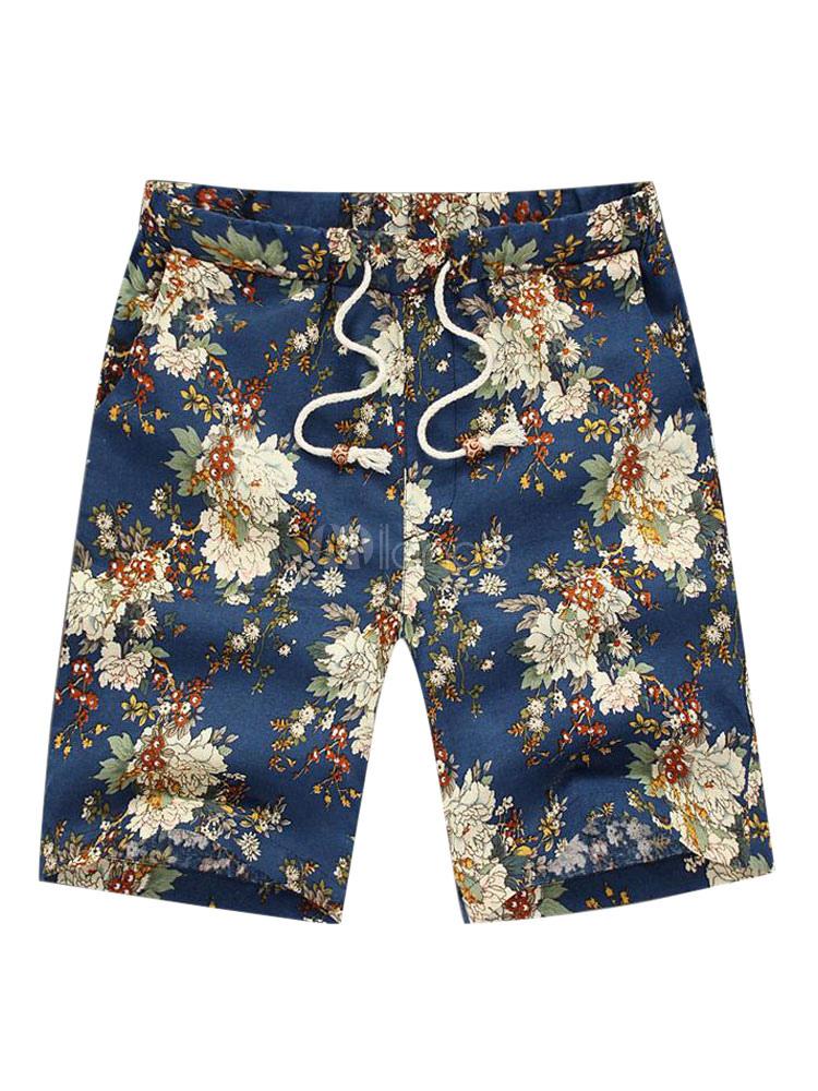 Shorts For Men Floral Print Cotton Linen Boho Shorts Drawstring Casual Shorts