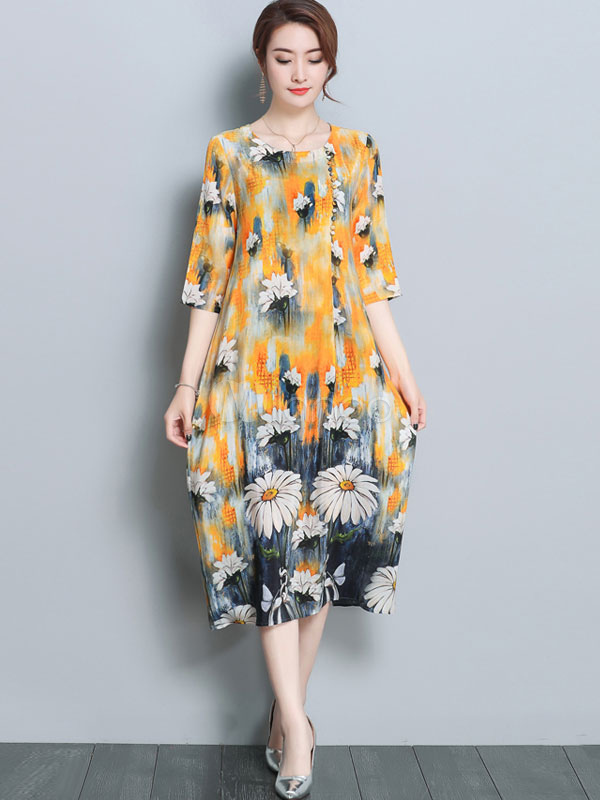 Buy Long Summer Dress Half Sleeve Floral Print Yellow Chiffon Shift Dress for $42.74 in Milanoo store