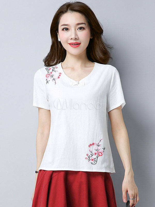 Buy Women White T Shirt Short Sleeve V Neck Embroidered Summer Top for $16.99 in Milanoo store