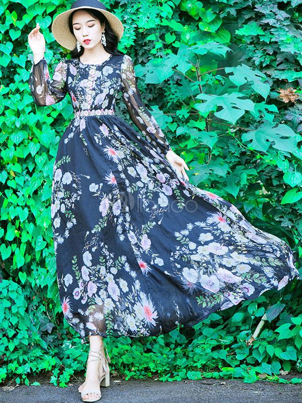 375d6f0446 Vestido largo con estampado floral y manga larga de gasa con cuello  circular-No.