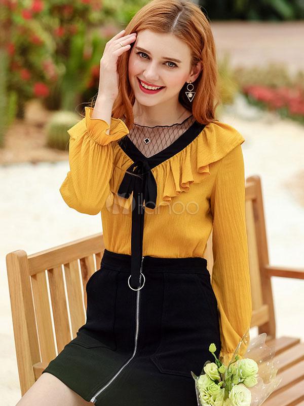 6e09468b56851 النساء الشيفون البلوزات الكشكشة كم طويل أقواس اثنين من لهجة الصيف الأصفر  الأعلى-No.