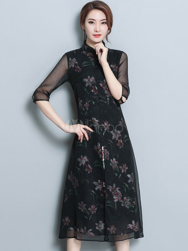 Buy Black Shift Dress Half Sleeve Split Floral Print Fake Two Piece Chiffon Tunic Dress for $47.49 in Milanoo store