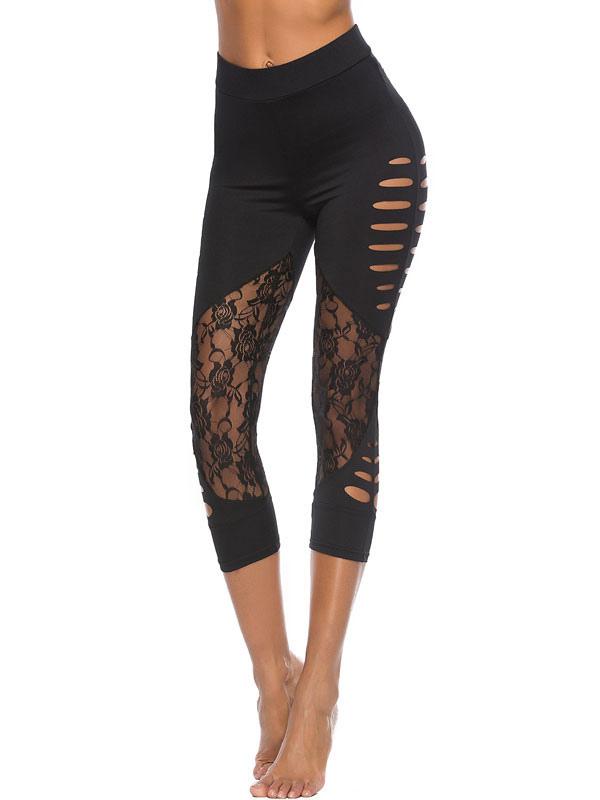 Women Yoga Leggings Black Lace Cut Out Elastic Waist Skinny Leggings