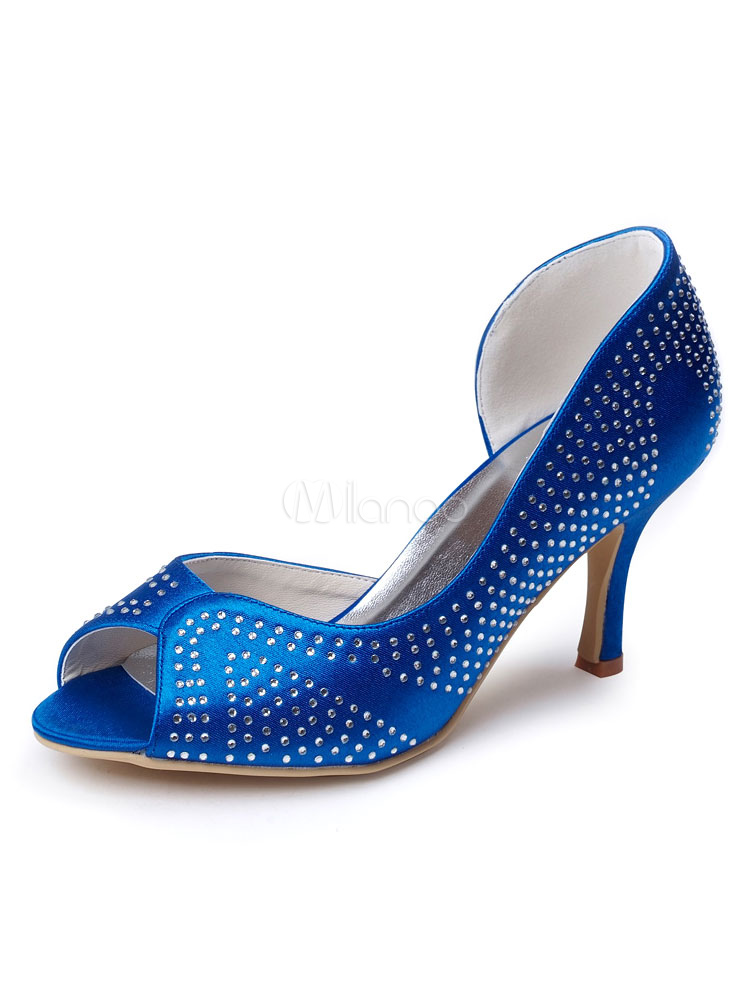 Royal blue wedding guest shoes satin mother of the bride shoes peep royal blue wedding guest shoes satin mother of the bride shoes peep toe rhinestones wedding shoes junglespirit Image collections