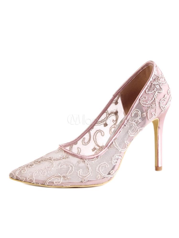 Zapatos de puntera puntiaguada de tacón de stiletto de encajede lujo Fiesta de bodas 44hvdaE
