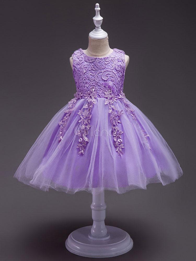 Vestidos de niña de las flores apliques de encaje lila sin mangas de ...