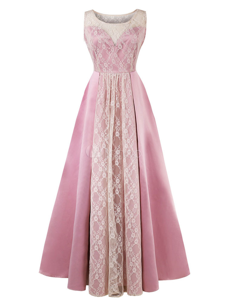 Buy Maxi Party Dress Pink Vintage Semi Formal Dress Fit Flared Sleeveless Lace Women Evening Dress for $39.94 in Milanoo store