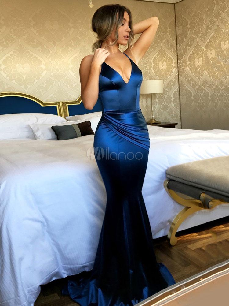 e605c4f42c ... Sexy Vestido de Noche 2019 vestido largo cuello en V sin espalda  tirantes finos Maxi vestido ...