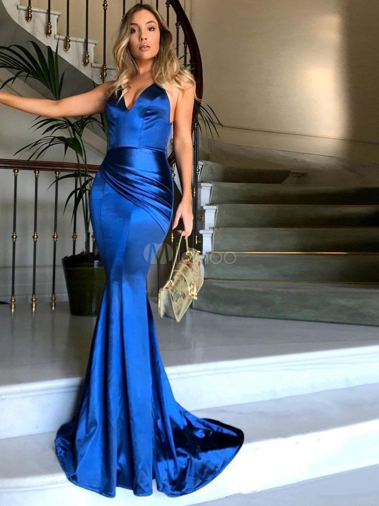 eb8b84666 Sexy Vestido de Noche 2019 vestido largo cuello en V sin espalda tirantes  finos Maxi vestido ...