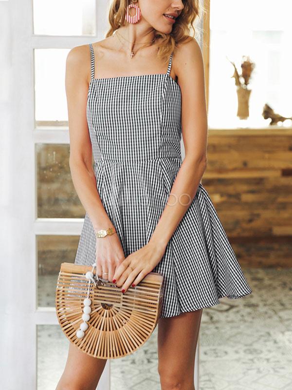 Buy Women Summer Dress Black Straps Sleeveless Plaid Backless Skater Dress for $22.94 in Milanoo store