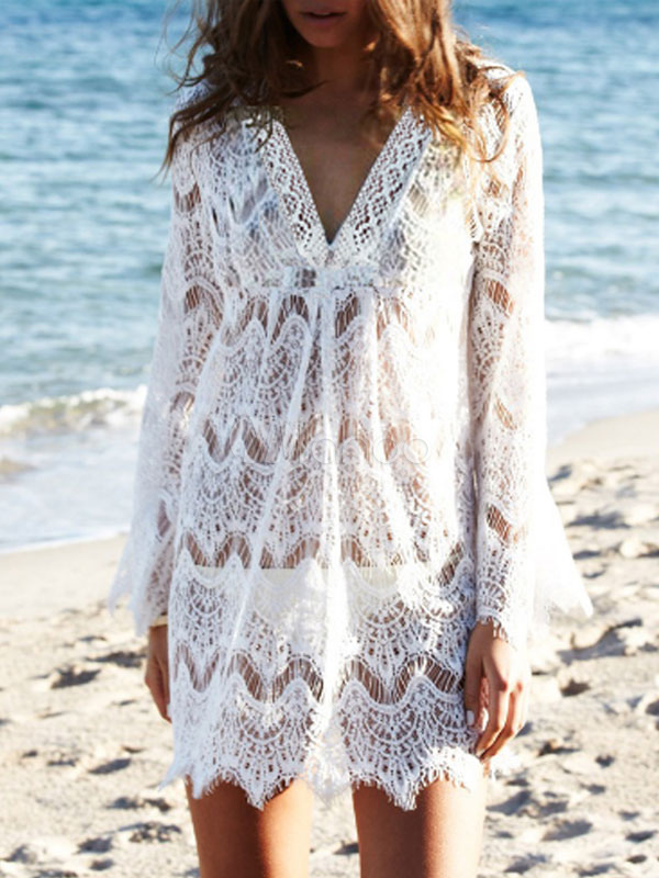 Buy White Lace Cover Up V Neck Long Sleeve Cut Out Women Beachwear for $21.24 in Milanoo store