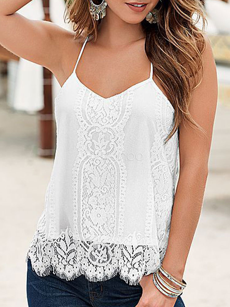 Women White Camis Straps Lace Sleeveless Summer Top