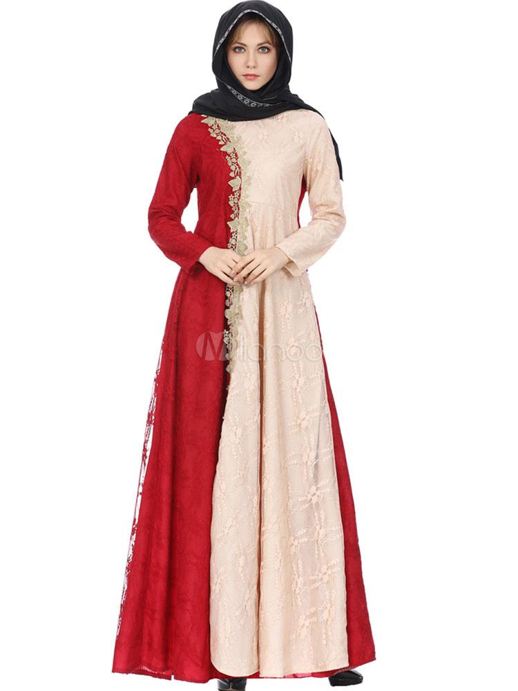 cb09457c55428 Maxi Abaya Dress Muslim Long Sleeve Lace Two Tone Kaftan Dress-No.1 ...