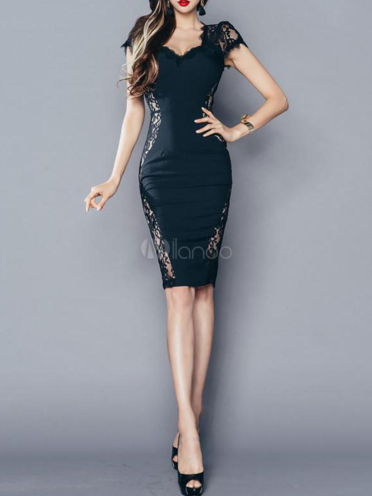 Black Bodycon Dress Lace V Neck Short Sleeve Shaping Party Dress
