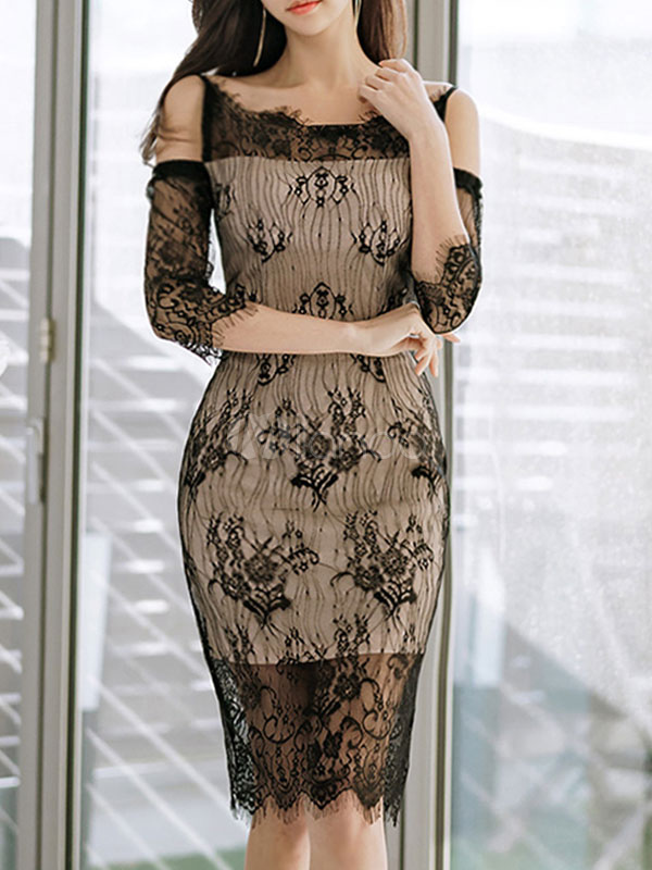 Black Lace Dress Straps Cold Shoulder Summer Dress Three Quarter Sleeve Party Dress