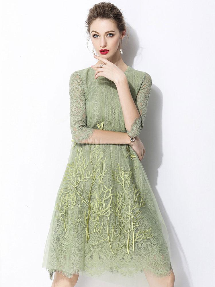 Women Party Dress Half Sleeve Embroidered Crewneck Lace Cotton Blend Midi Dress