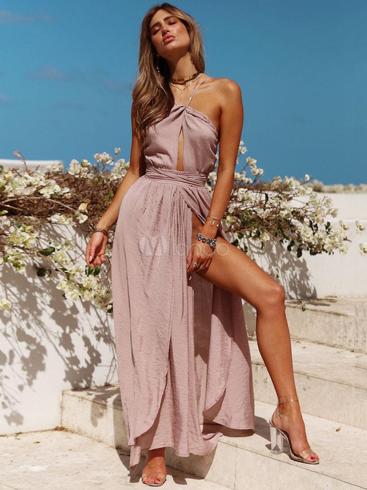 Long Summer Dress Spaghetti Straps Split Backless Twisted Maxi Dress