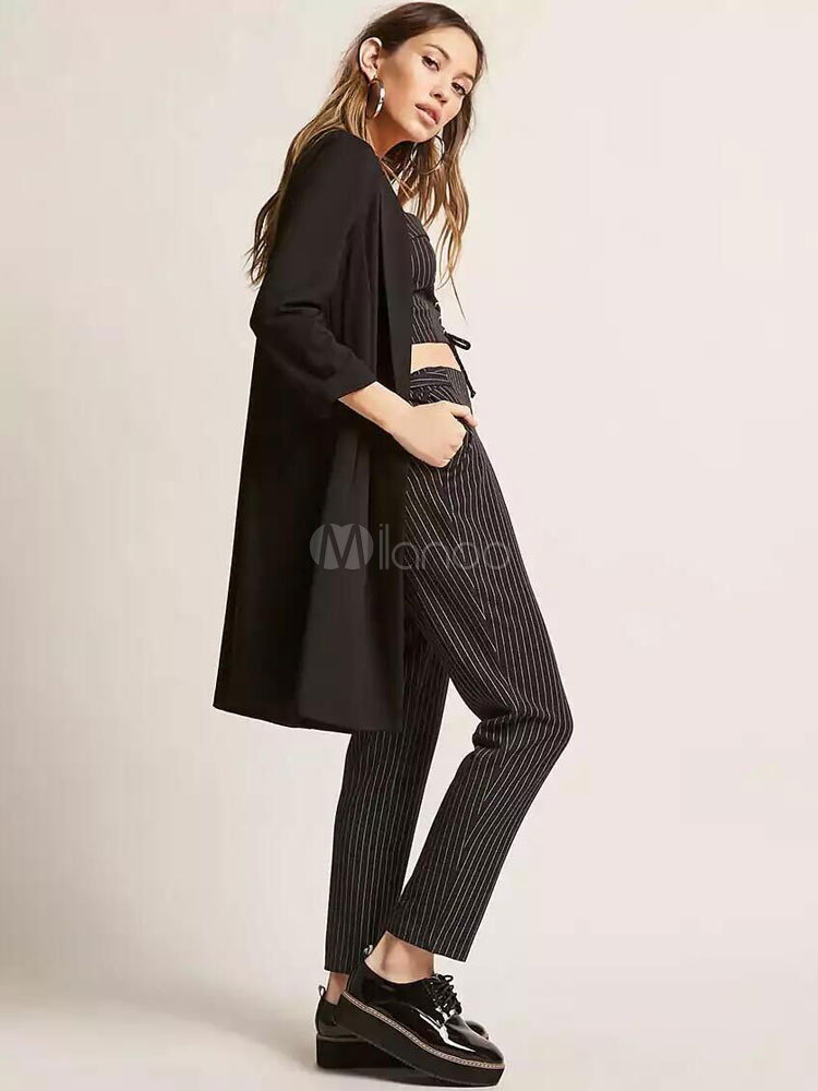 cheaper 78a85 aab64 Giacca casual da donna girocollo a manica lunga nera giacca girocollo