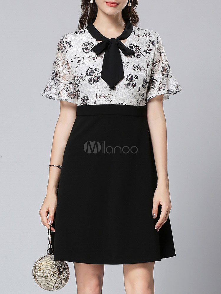Buy Little Black Dress Short Sleeve Printed Bows Fake Two Piece Women Skater Dress Summer Tunic Dress for $52.24 in Milanoo store