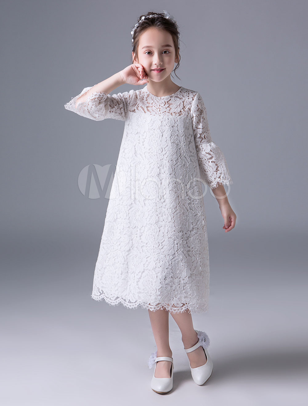16168929a Boho Flower Girl Dresses Summer Ivory Lace Bell Sleeve Tea Length ...