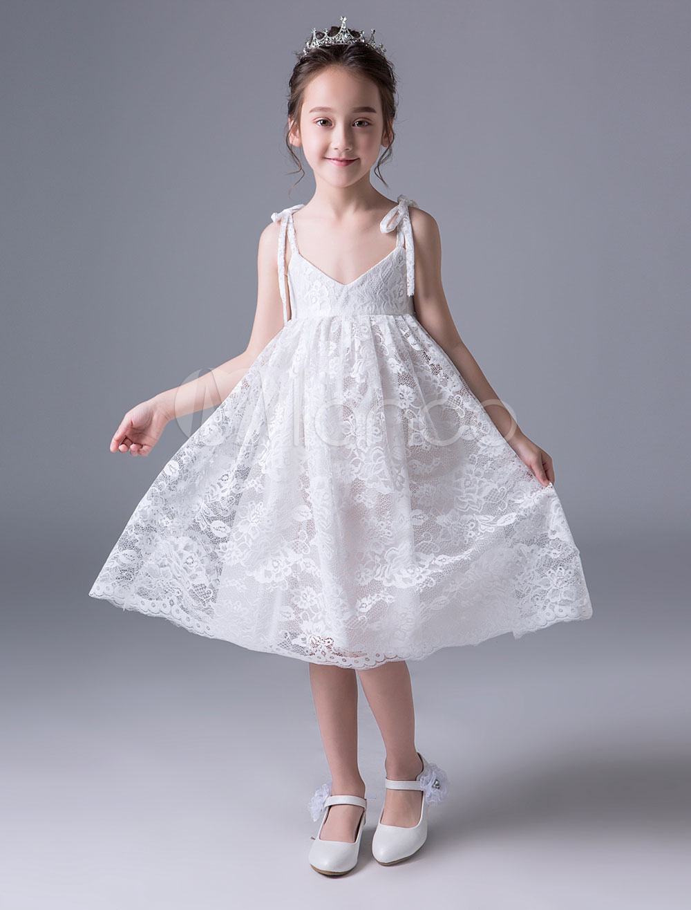 Buy Lace Flower Girl Dresses Ivory V Neck Kids Slip Dress Knee Length Short Party Dresses for $56.94 in Milanoo store