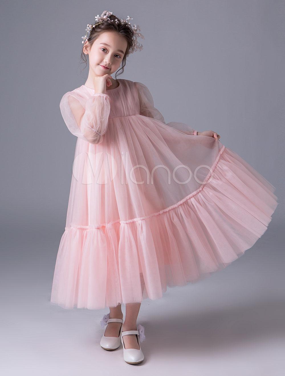 Vestidos de niña de las flores de color rosa Boho manga larga ...