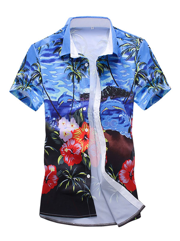 Short Sleeve Shirt Blue Hawaii Shirt Floral Print Men Casual Shirt