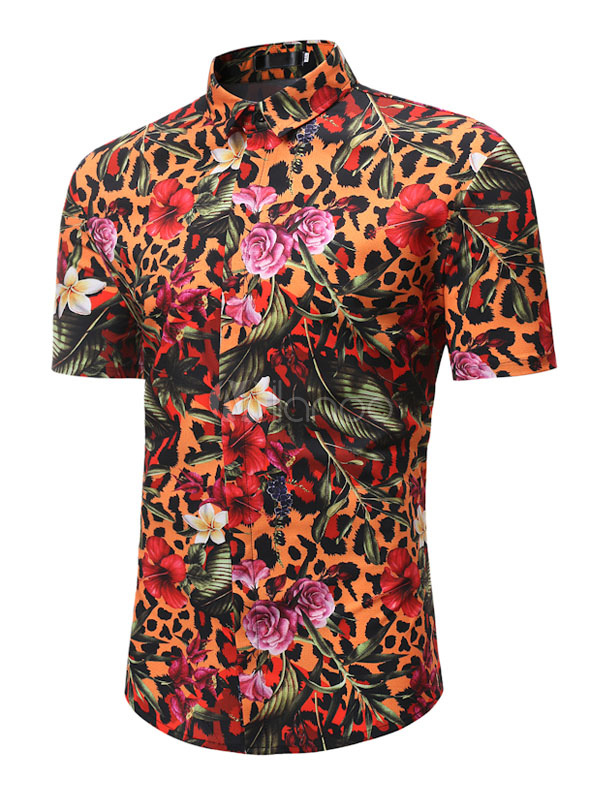 Men Shirt Casual Floral Leopard Print Short Sleeve T Shirt Cotton