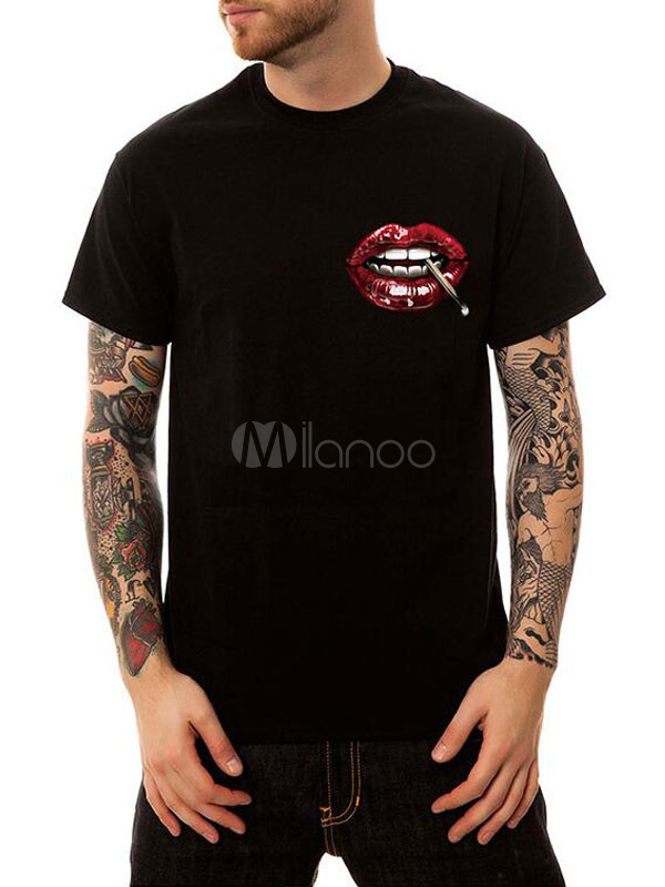 Buy Black Men T Shirt Graphic Print Cotton Tee Top Short Sleeve T Shirt Casual for $19.99 in Milanoo store