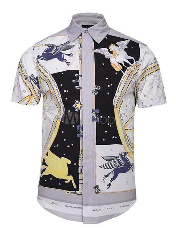 White Casual Shirt Pegasus Print Short Sleeve Men Shirt