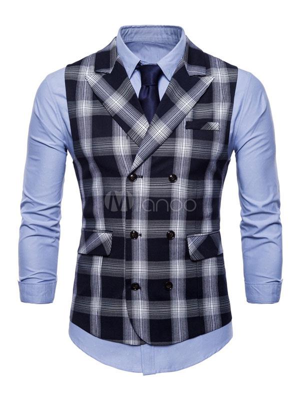 Black Waist Coat Tartan Check Turndown Collar Sleeveless Suit Gilet For Men