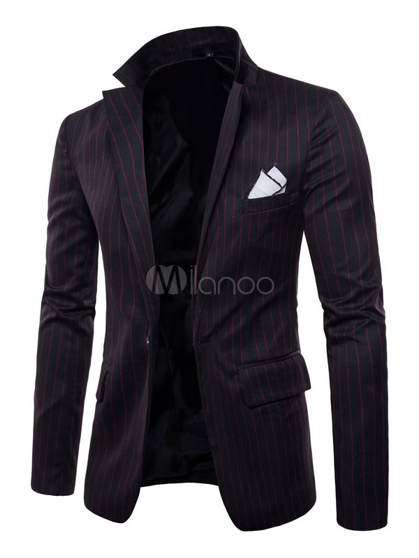 Blazer For Men Notch Collar Stripe Spring Suit Jacket Regular Fit One Button Casual Blazer