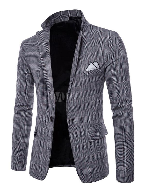Blazer For Men Plaid Print Notch Collar Suit Jacket Front Button Casual Blazer