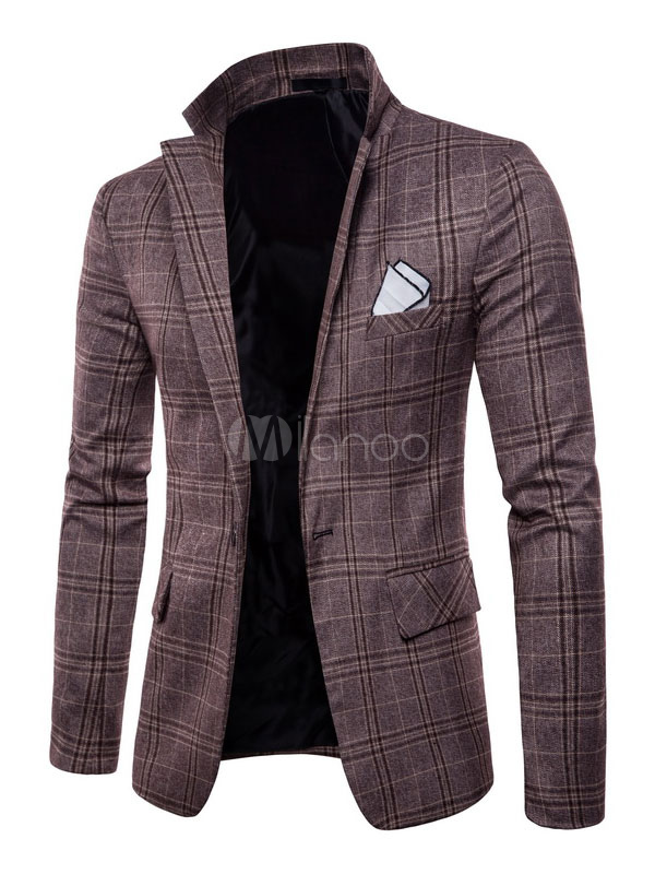 Buy Men Blazer Casual Plaid Notch Collar Suit Jacket Business Casual Blazer For Men for $43.99 in Milanoo store