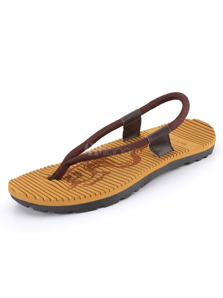 Buy Men Beach Sandals Brown Flip Flops Thong Detail Flat Sandal Shoes for $22.49 in Milanoo store