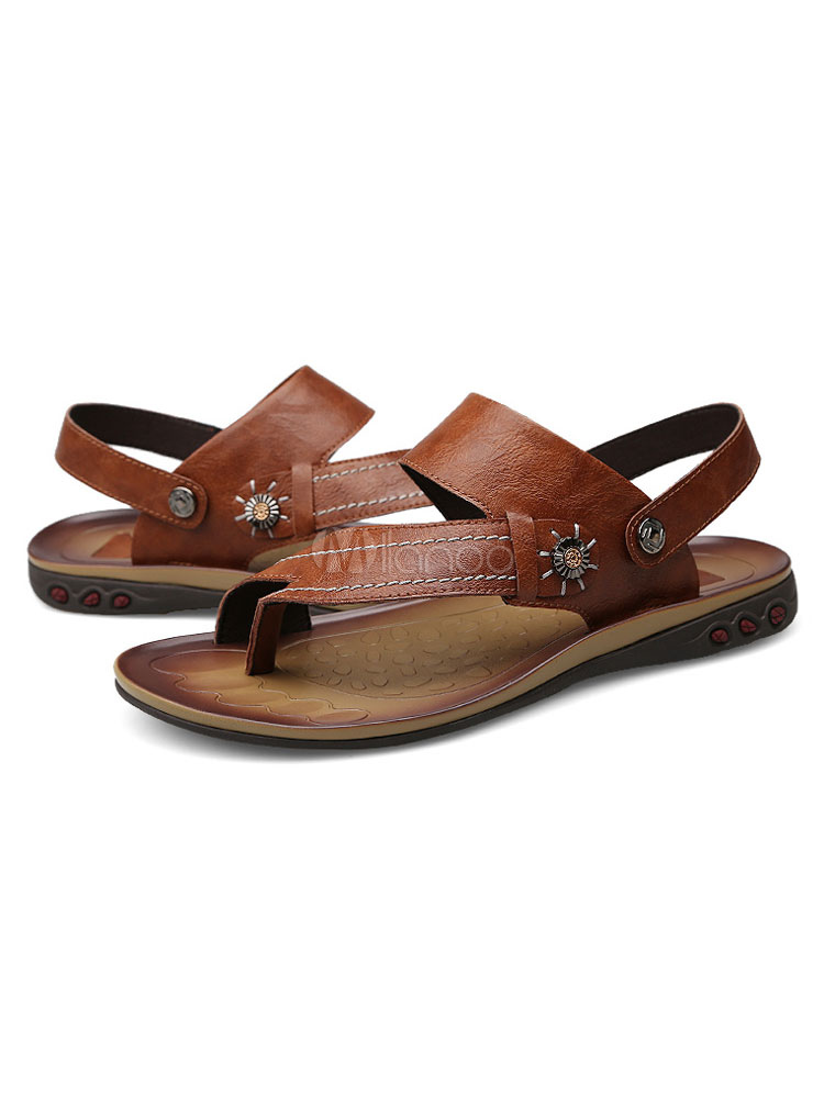 1a7603fee الرجال صندل النعال تو اصبع القدم أحذية خفيفة الصنادل المسطحة-No.1 ...