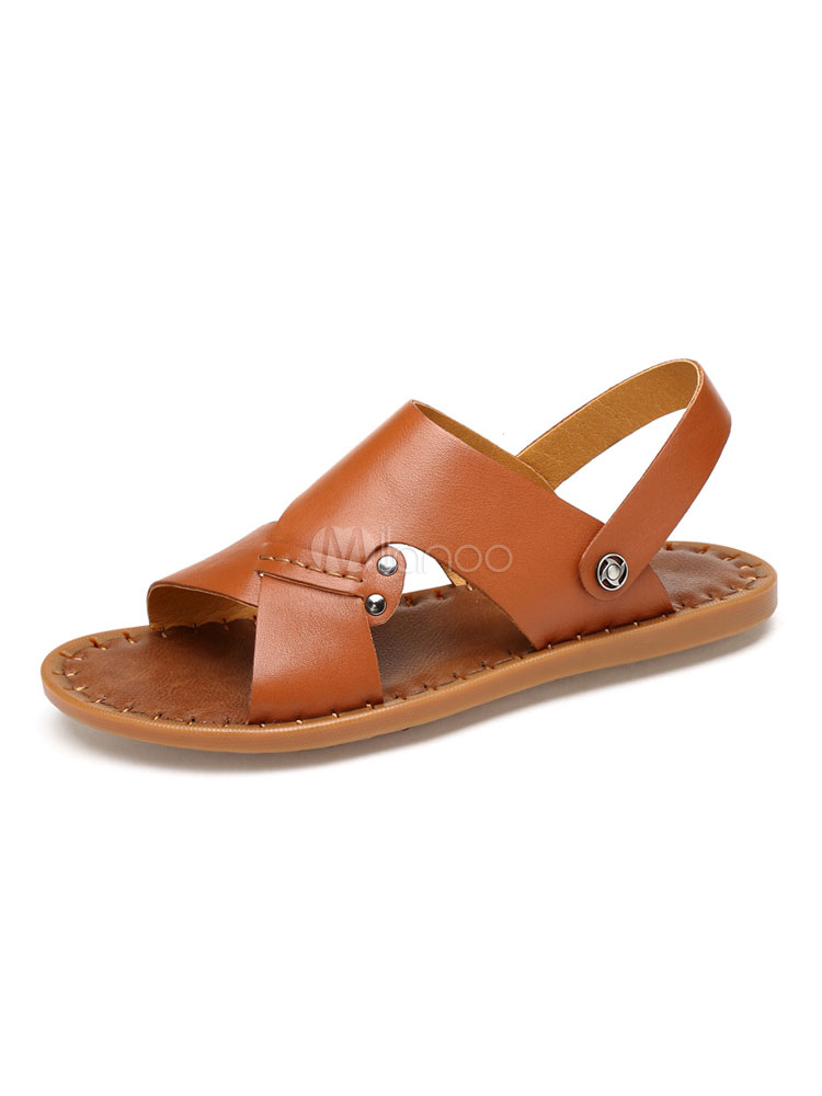 Buy Men Flat Sandals Cowhide Open Toe Slingbacks Sandal Shoes for $49.49 in Milanoo store