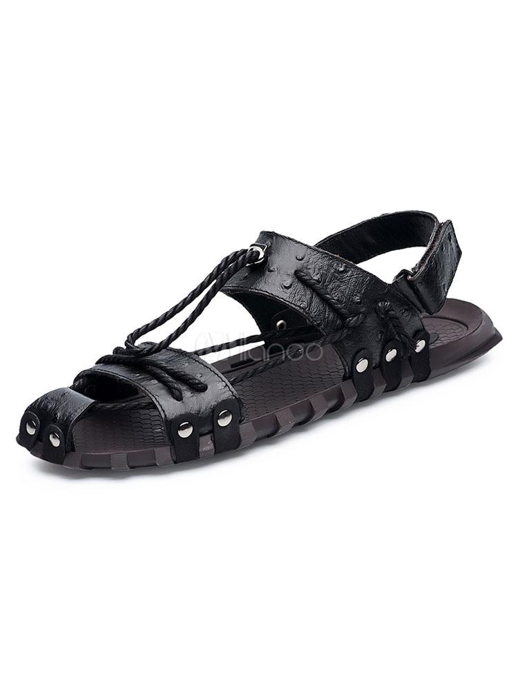 Para Hombres De Zapatos Con Vaca Planas Cordones Detalle Piel Sandalias xorBedC