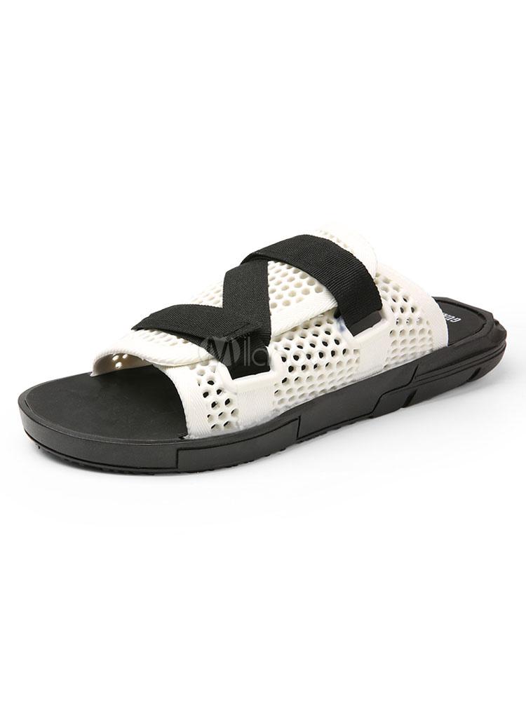 7db8feb5868 Men Sandal Slippers Open Toe Cut Out Sandal Slides - Milanoo.com