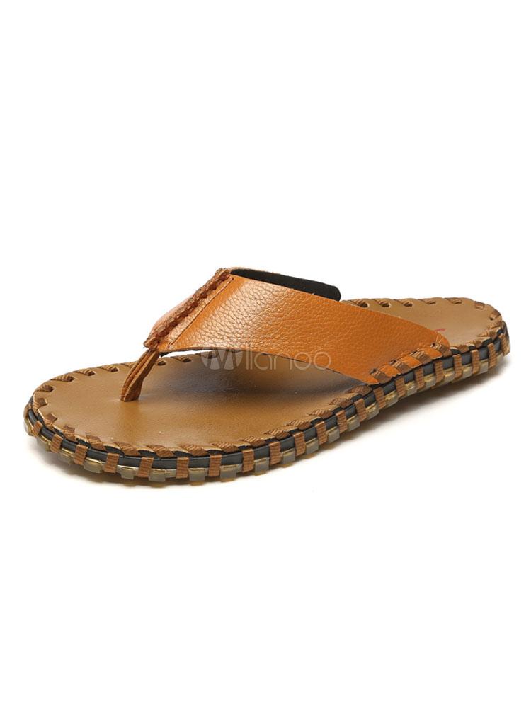 9a7f753f2d29 Men Flip Flops Cowhide Thong Backless Sandal Slippers Beach Sandals-No.1 ...