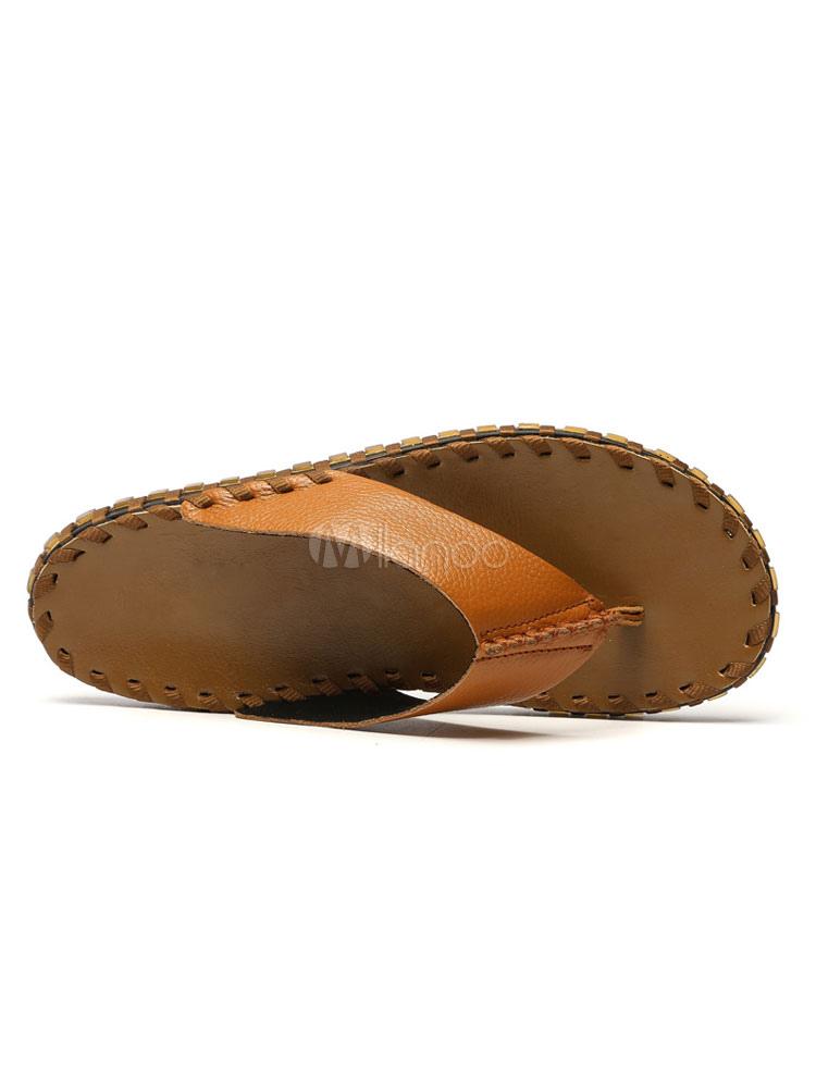 64372c8c326 ... Men Flip Flops Cowhide Thong Backless Sandal Slippers Beach Sandals-No.5  ...