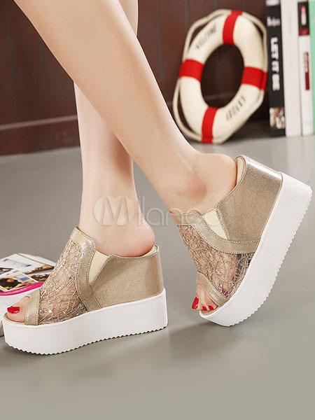 Sandalias con cuña para mujer Sandalias con sandalias doradas Zapatillas sin respaldo con punta abierta en los zapatos Barato Venta Low Cost Descuento de compras en línea Orden de salida xJmvKoH