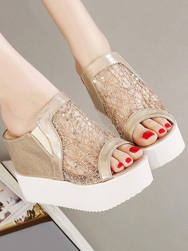 los respaldo Sandalias Zapatillas para en abierta Sandalias con zapatos con sandalias doradas sin punta mujer con cuña ZSnrqvZ