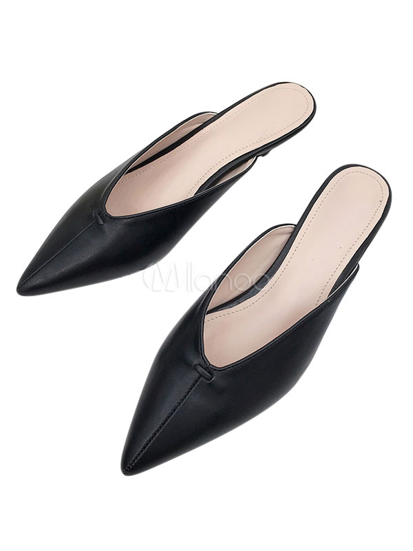 Women Black Mules Pointed Toe Backless Slip On Pumps