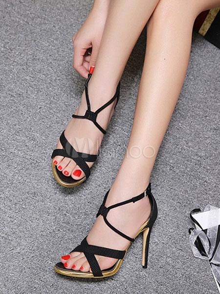 Women Black Sandals High Heel Sandals Open Toe Criss Cross Stiletto Heel Sandal Shoes