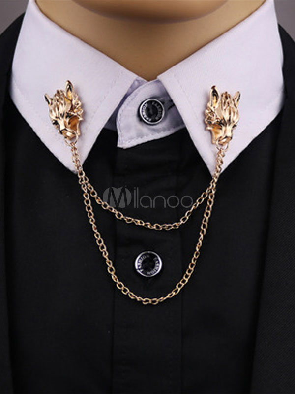 Collar Clip Chain Gold Lion Pin Brooch Suit Accessories