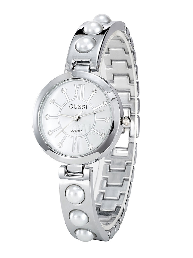 Reloj de pulsera de cuarzo con tono plateado y perlas de plata para mujer-No  ... e810fc0b6d5c