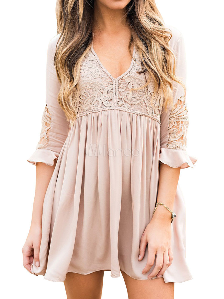 Women Mini Dress V Neck Half Sleeve Lace Apricot Summer Dress